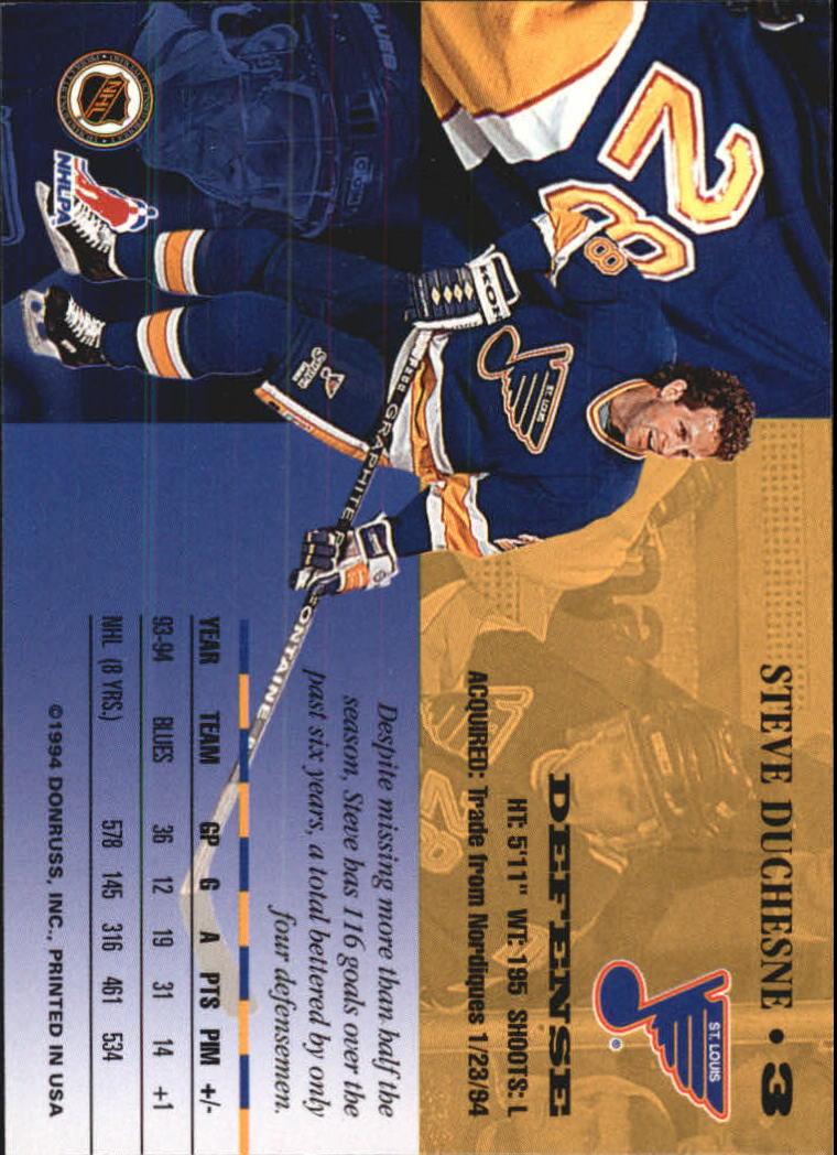 1994-95 Leaf #3 Steve Duchesne back image