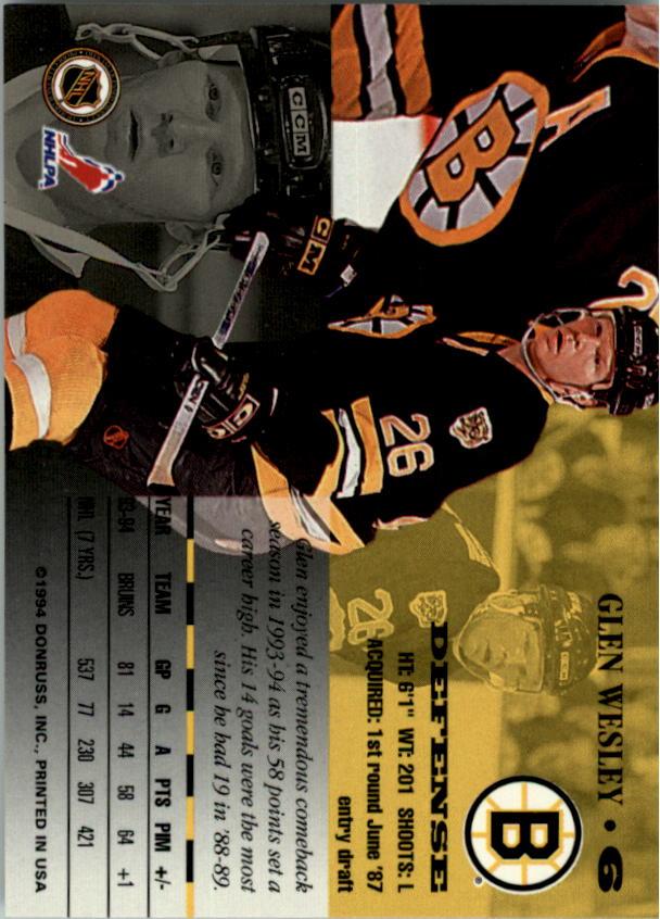 1994-95 Leaf #6 Glen Wesley back image