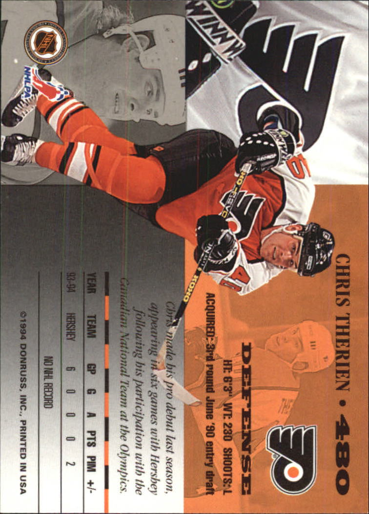 1994-95 Leaf #480 Chris Therien back image