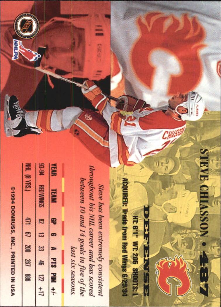 1994-95 Leaf #487 Steve Chiasson back image