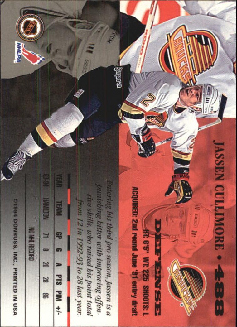 1994-95 Leaf #488 Jassen Cullimore back image