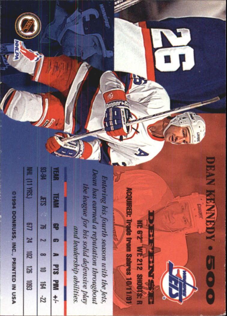 1994-95 Leaf #500 Dean Kennedy back image