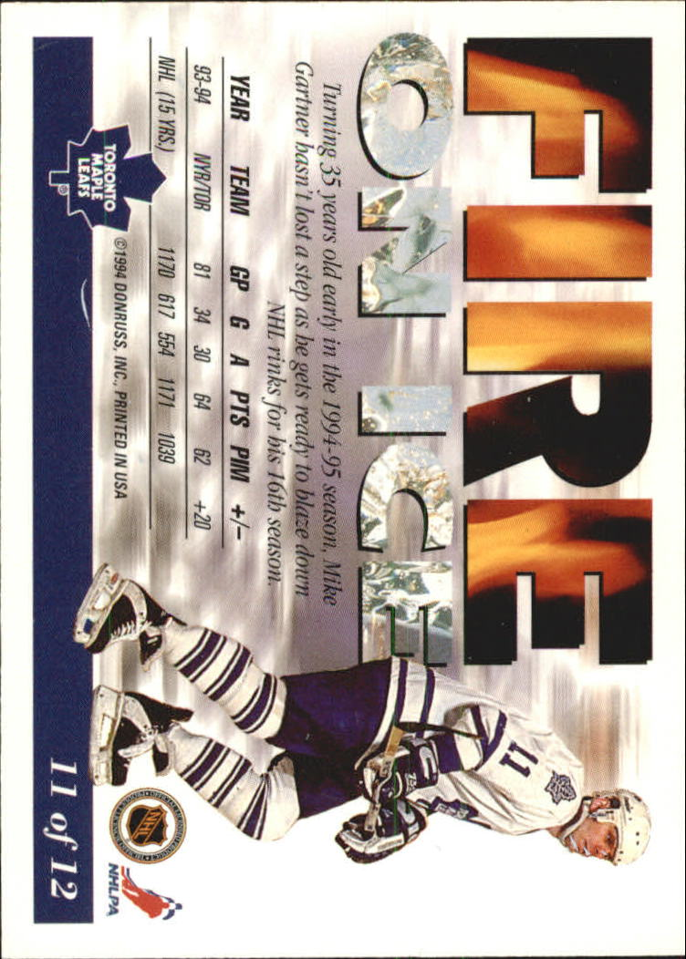1994-95 Leaf Fire on Ice #11 Mike Gartner back image