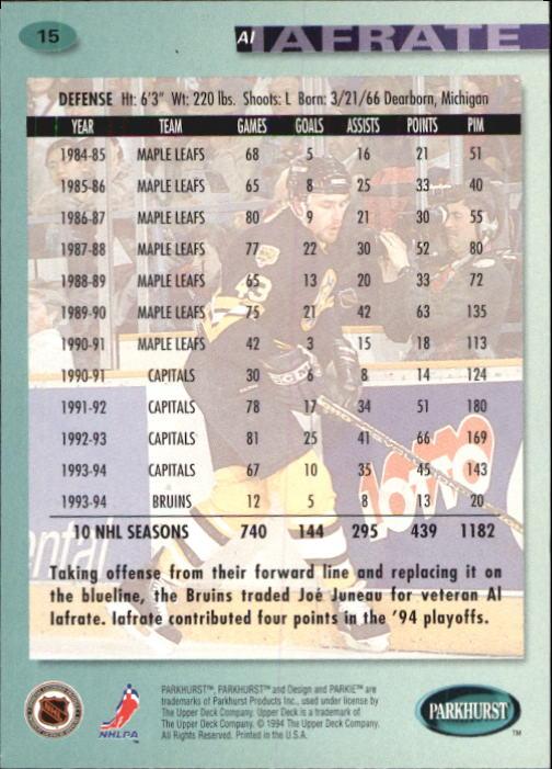 1994-95 Parkhurst #15 Al Iafrate back image