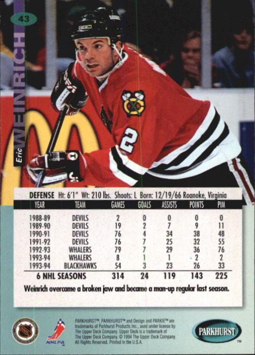 1994-95 Parkhurst #43 Eric Weinrich back image