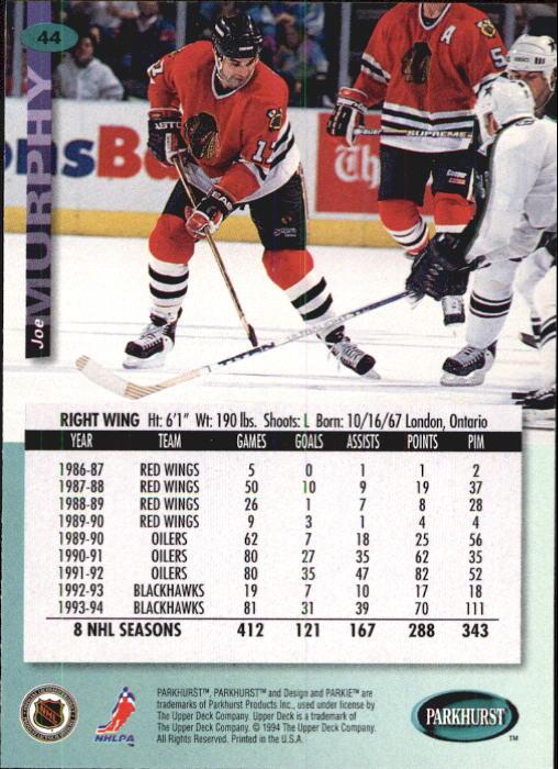 1994-95 Parkhurst #44 Joe Murphy back image