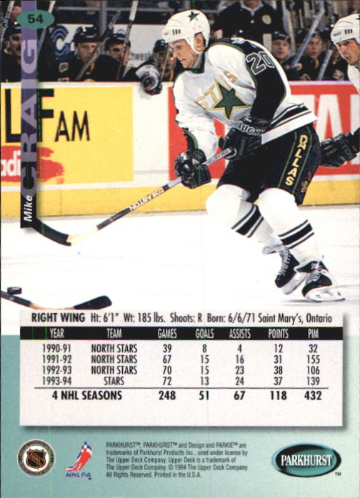 1994-95 Parkhurst #54 Mike Craig back image