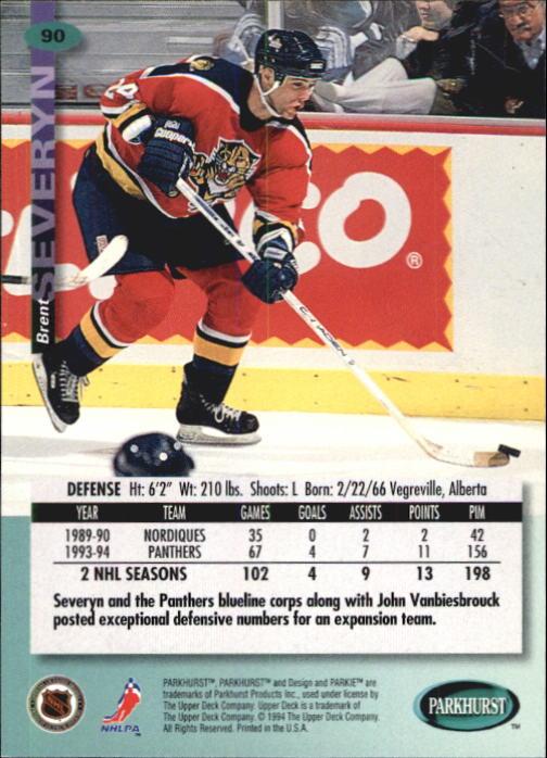 1994-95 Parkhurst #90 Brent Severyn back image