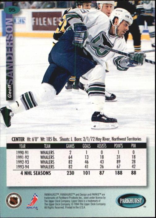 1994-95 Parkhurst #95 Geoff Sanderson back image