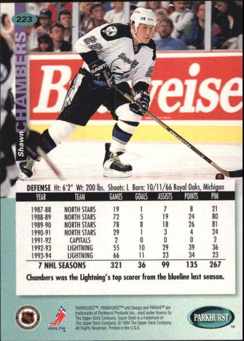 1994-95 Parkhurst #223 Shawn Chambers back image
