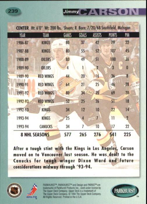 1994-95 Parkhurst #239 Jimmy Carson back image