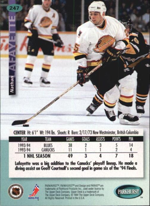 1994-95 Parkhurst #247 Nathan Lafayette back image