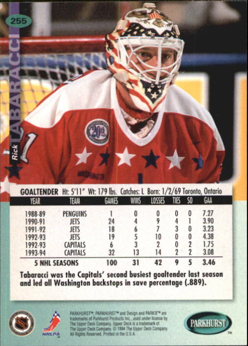 1994-95 Parkhurst #255 Rick Tabaracci back image