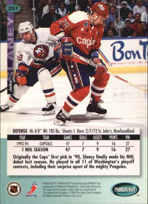 1994-95 Parkhurst #257 John Slaney back image