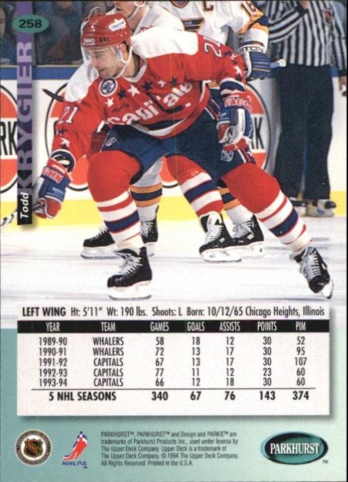 1994-95 Parkhurst #258 Todd Krygier back image