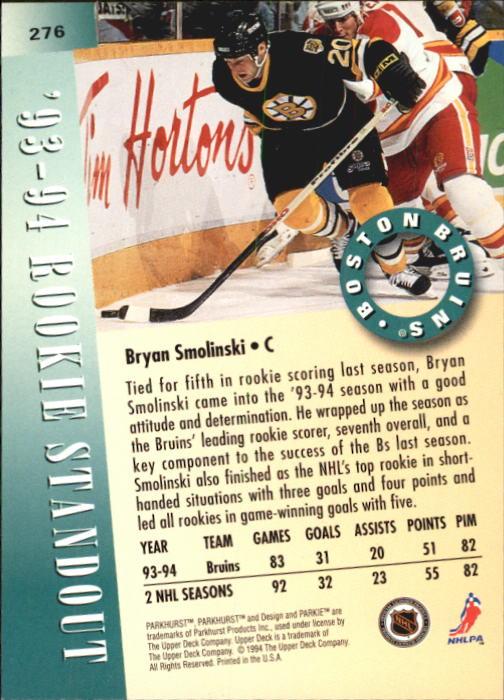 1994-95 Parkhurst #276 Bryan Smolinski RS back image