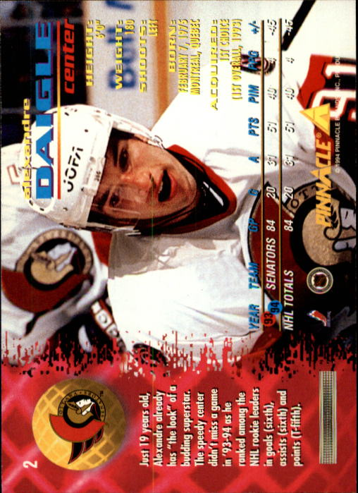 1994-95 Pinnacle #2 Alexandre Daigle back image