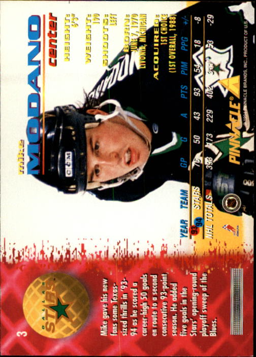 1994-95 Pinnacle #3 Mike Modano back image