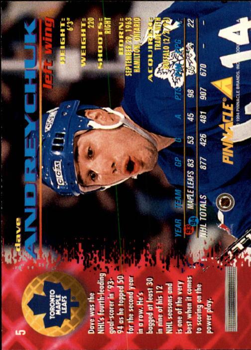 1994-95 Pinnacle #5 Dave Andreychuk back image