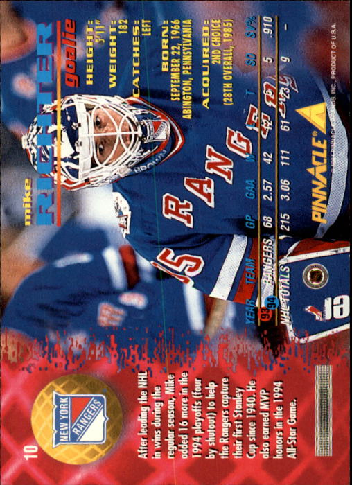 1994-95 Pinnacle #10 Mike Richter back image