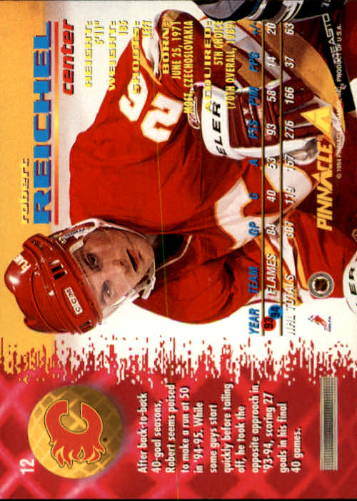 1994-95 Pinnacle #12 Robert Reichel back image