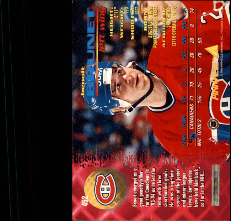 1994-95 Pinnacle #452 Benoit Brunet back image