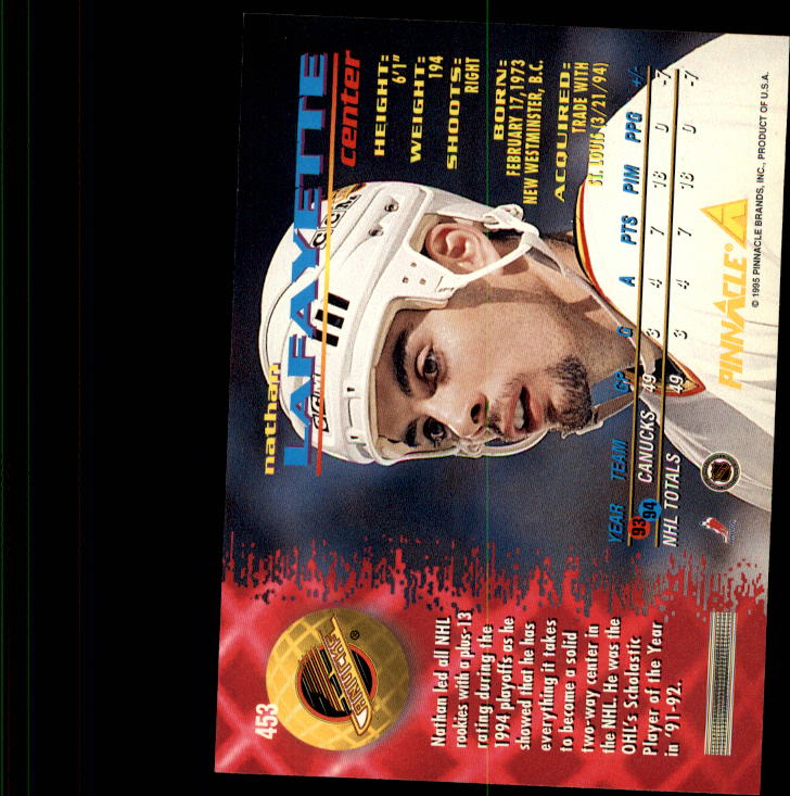 1994-95 Pinnacle #453 Nathan Lafayette back image