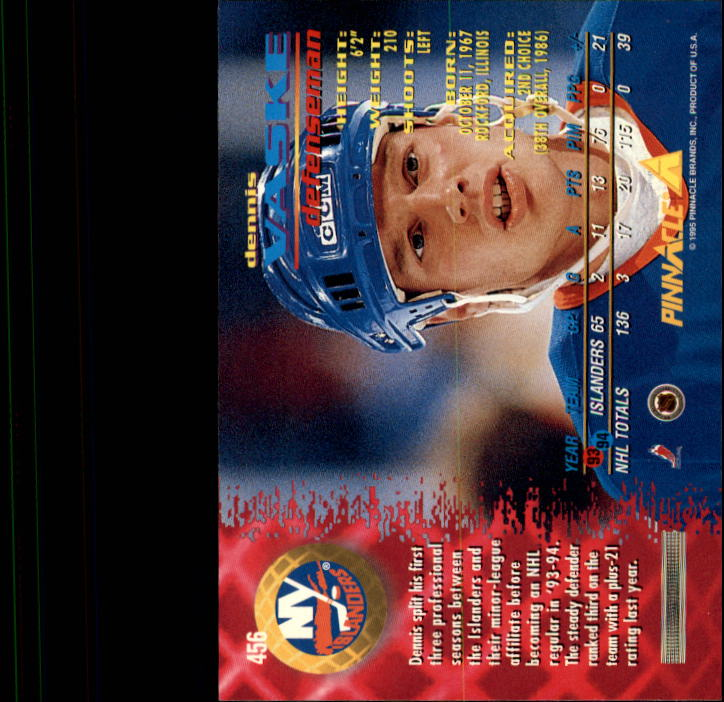1994-95 Pinnacle #456 Dennis Vaske back image