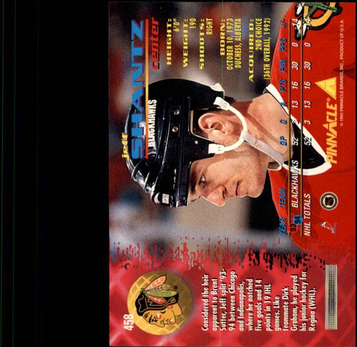 1994-95 Pinnacle #458 Jeff Shantz back image