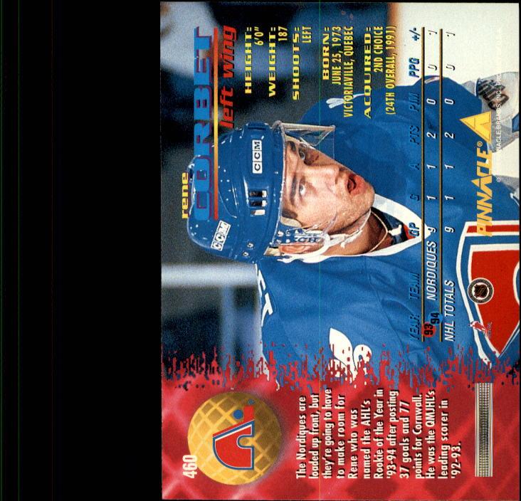 1994-95 Pinnacle #460 Rene Corbet back image