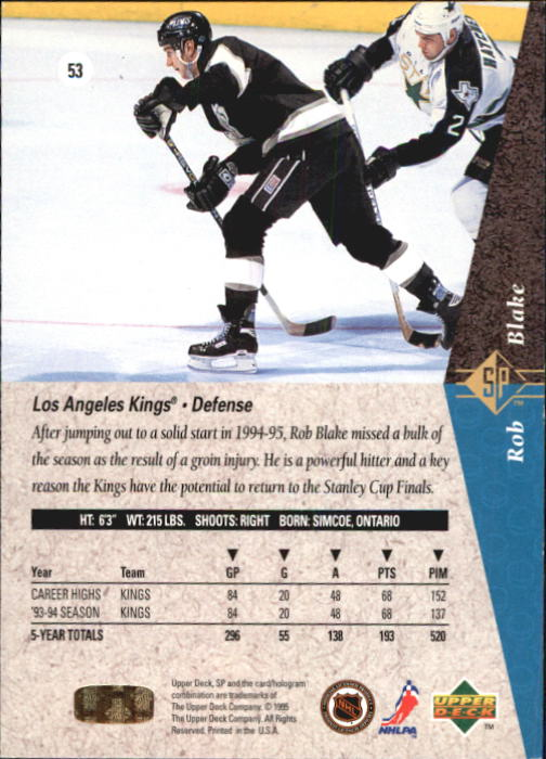 1994-95 SP #53 Rob Blake back image