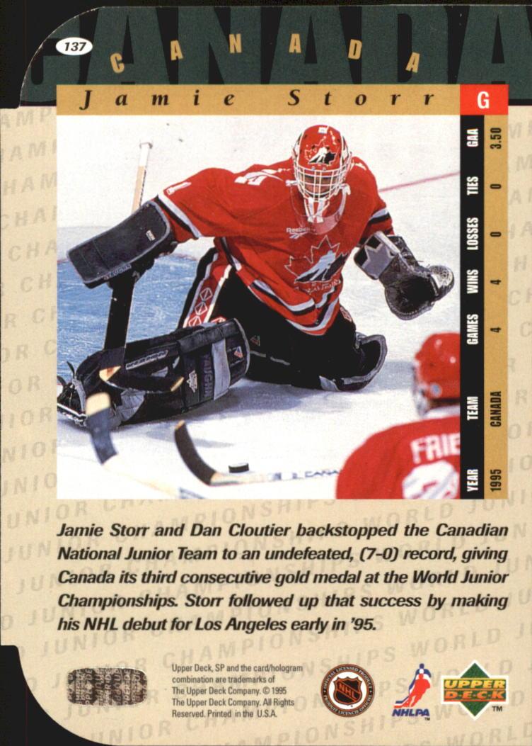 1994-95 SP Die Cuts #137 Jamie Storr back image