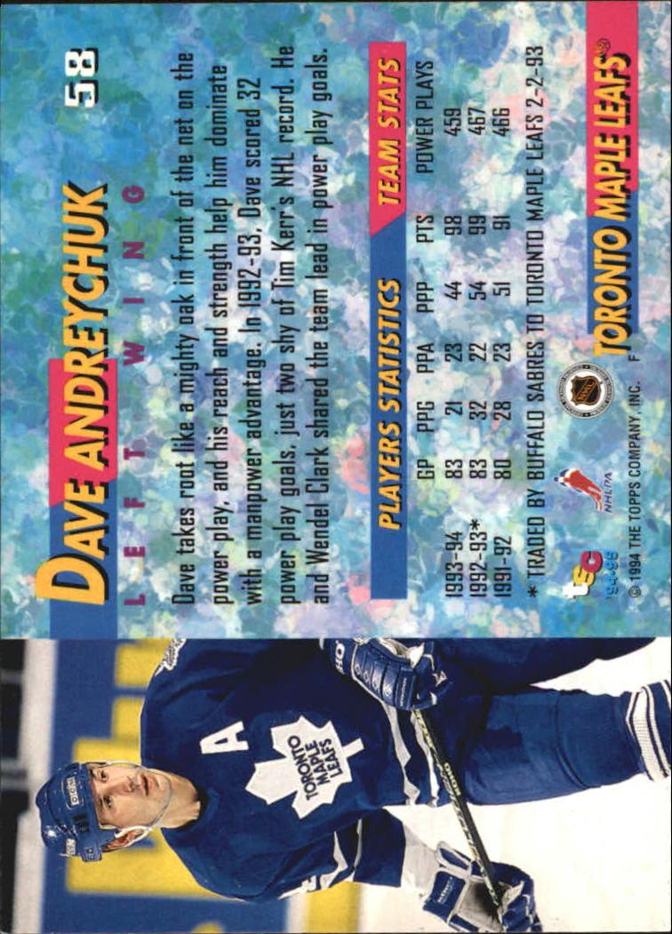 1994-95 Stadium Club #58 Dave Andreychuk PP back image