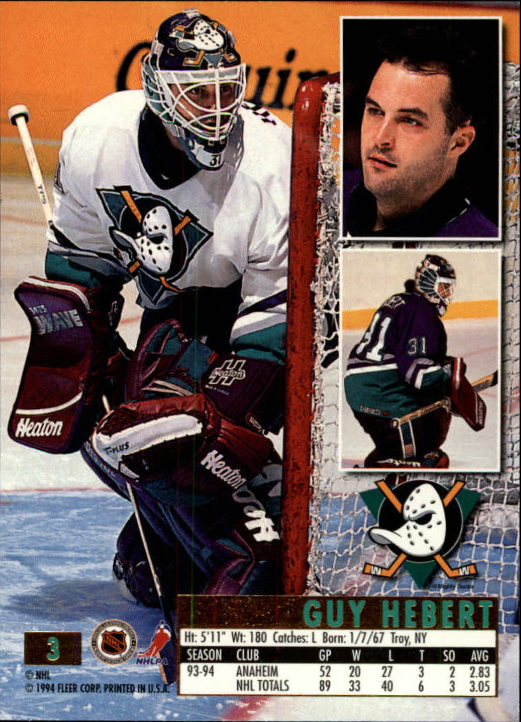 1994-95 Ultra #3 Guy Hebert back image