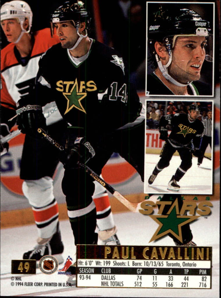 1994-95 Ultra #49 Paul Cavallini back image