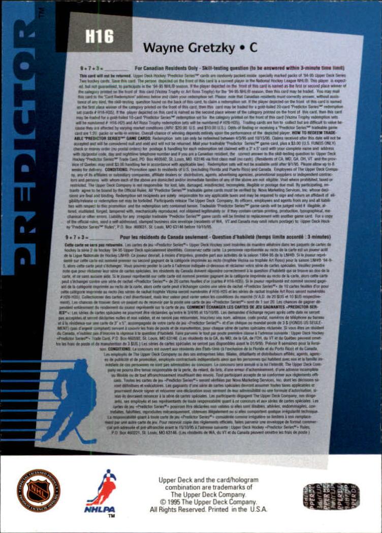 1994-95 Upper Deck Predictor Hobby #H16 Wayne Gretzky back image