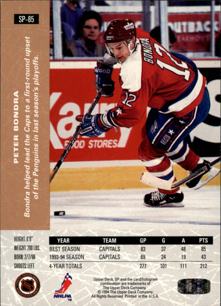 1994-95 Upper Deck SP Inserts #SP85 Peter Bondra back image