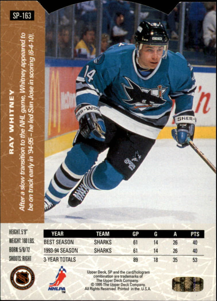 1994-95 Upper Deck SP Inserts Die Cuts #SP163 Ray Whitney back image
