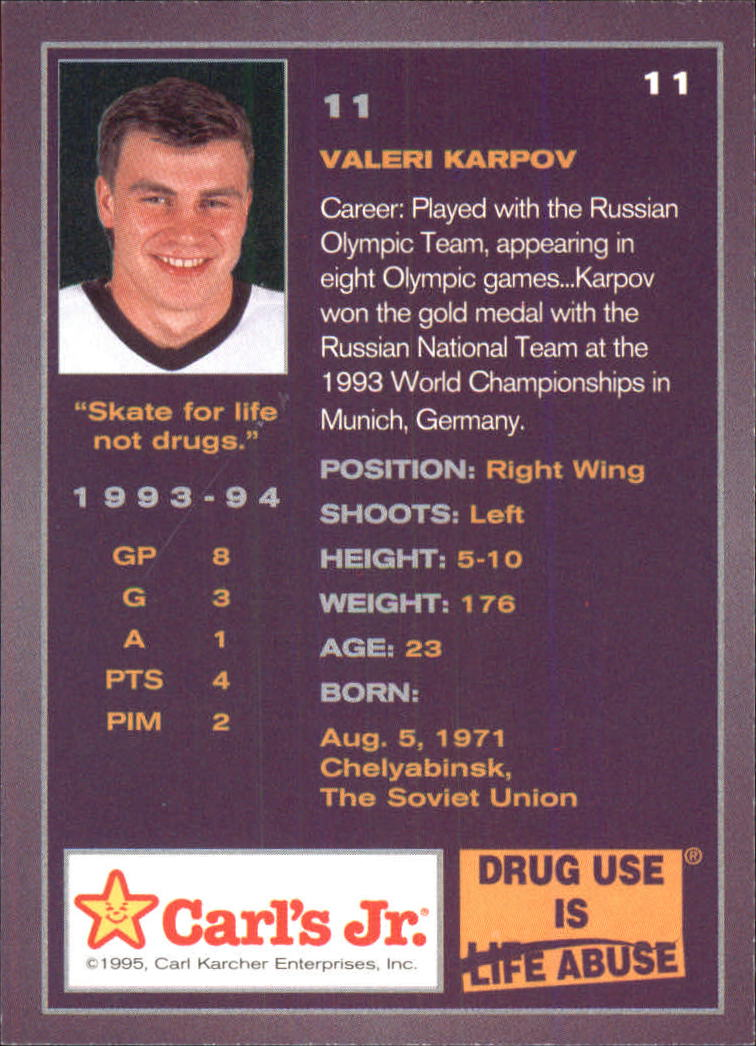 1994-95 Ducks Carl's Jr. #11 Valeri Karpov back image