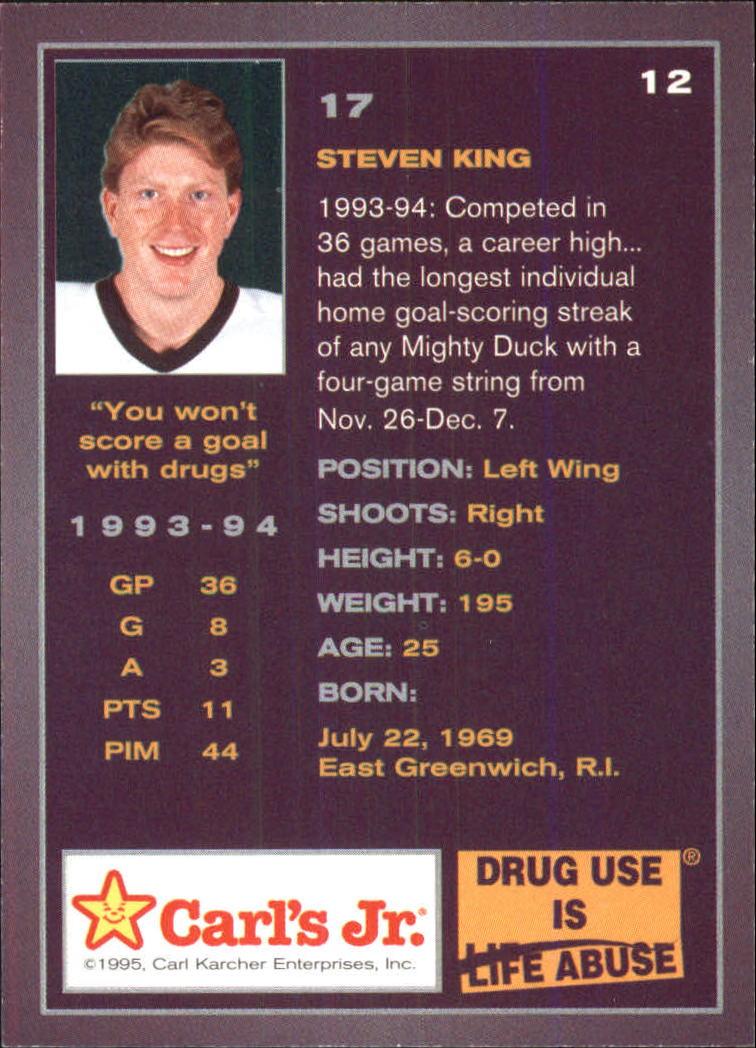 1994-95 Ducks Carl's Jr. #12 Steven King back image