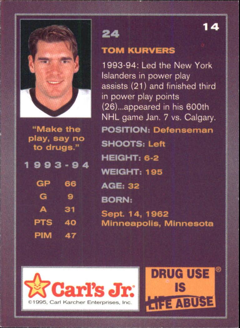 1994-95 Ducks Carl's Jr. #14 Tom Kurvers back image