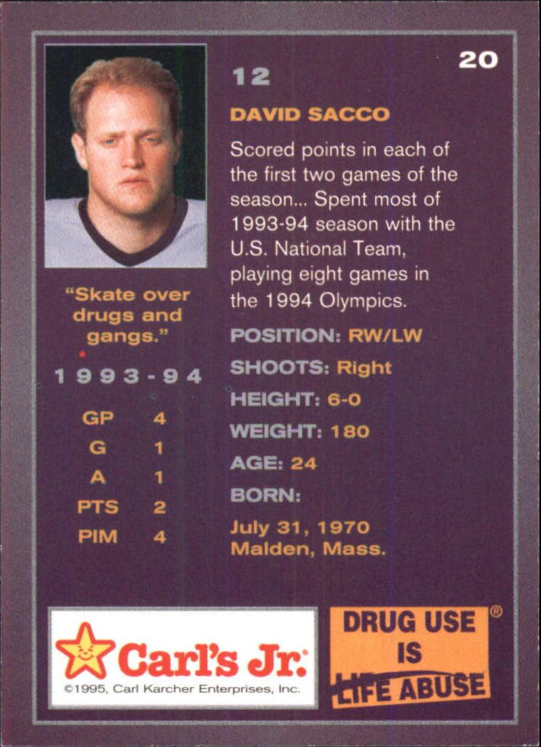 1994-95 Ducks Carl's Jr. #20 David Sacco back image