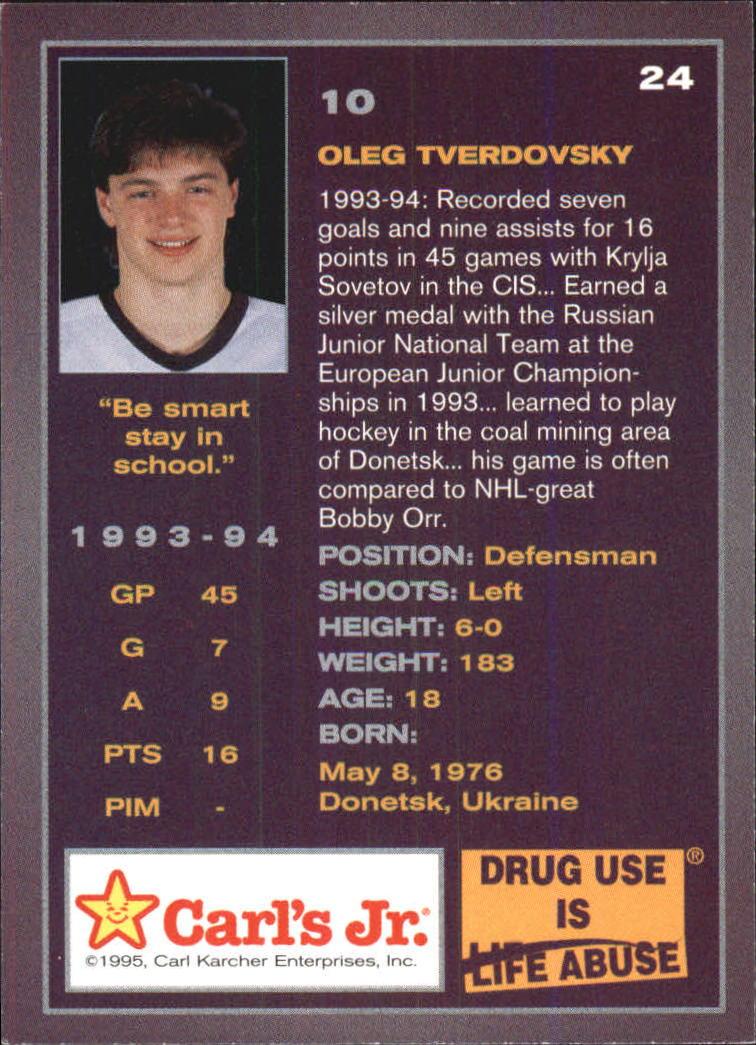 1994-95 Ducks Carl's Jr. #24 Oleg Tverdovsky back image