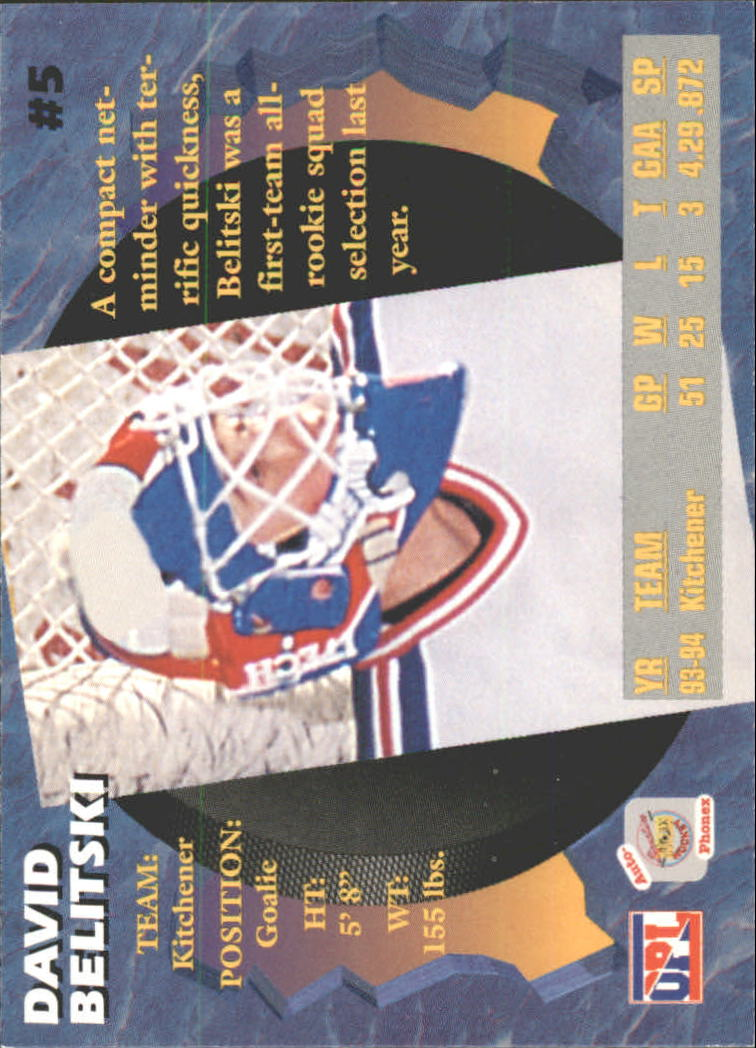 1995 Signature Rookies Auto-Phonex #5 David Belitski back image
