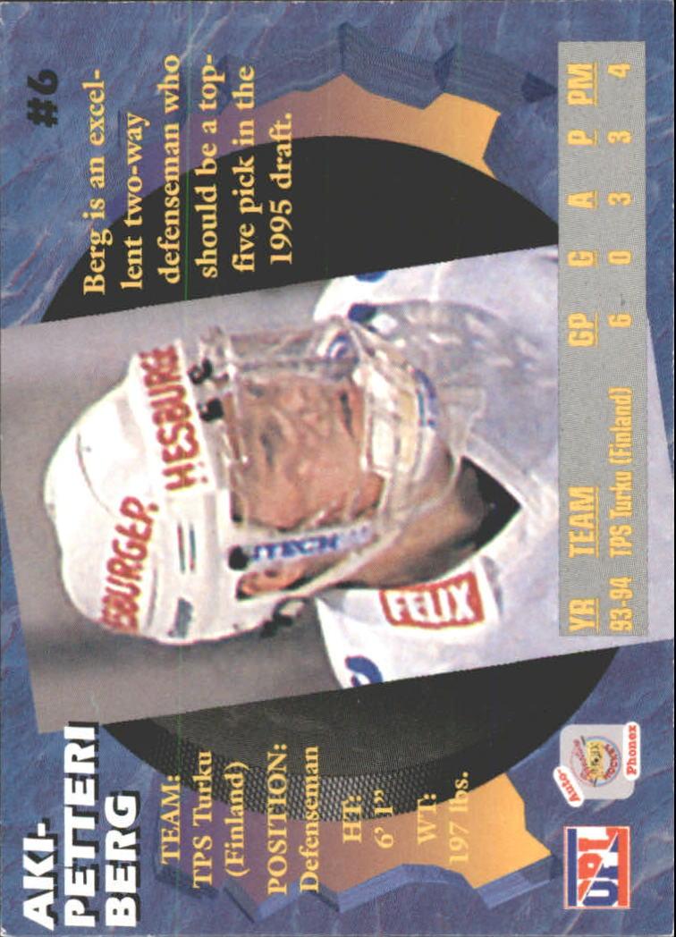 1995 Signature Rookies Auto-Phonex #6 Aki Berg back image
