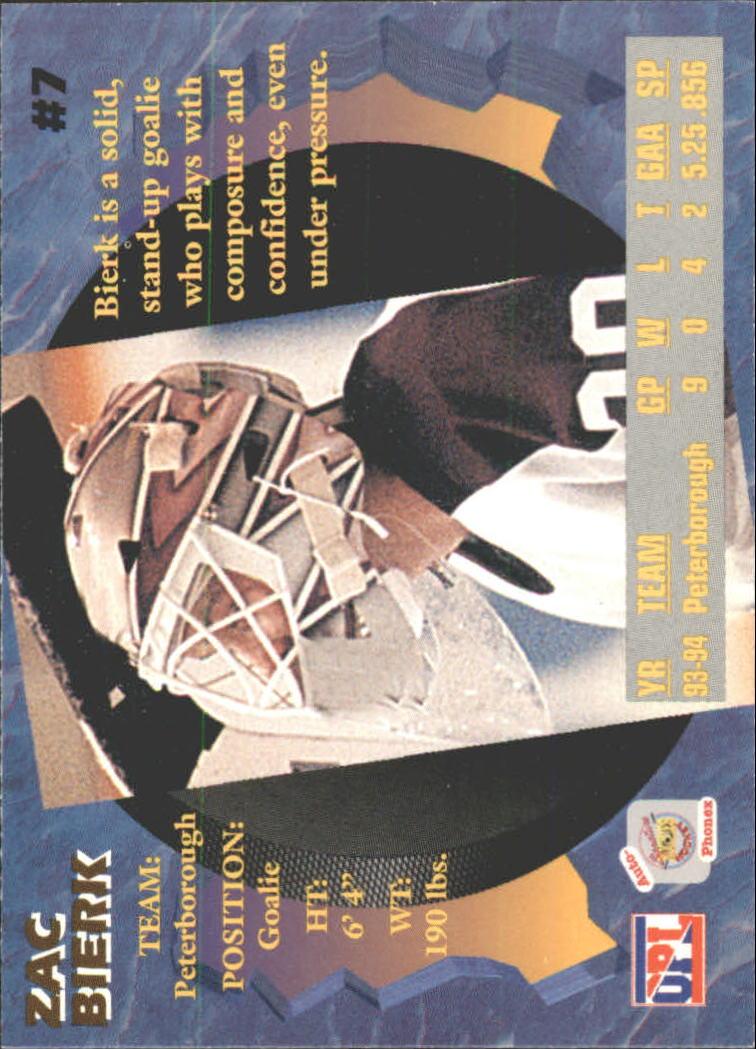 1995 Signature Rookies Auto-Phonex #7 Zac Bierk back image
