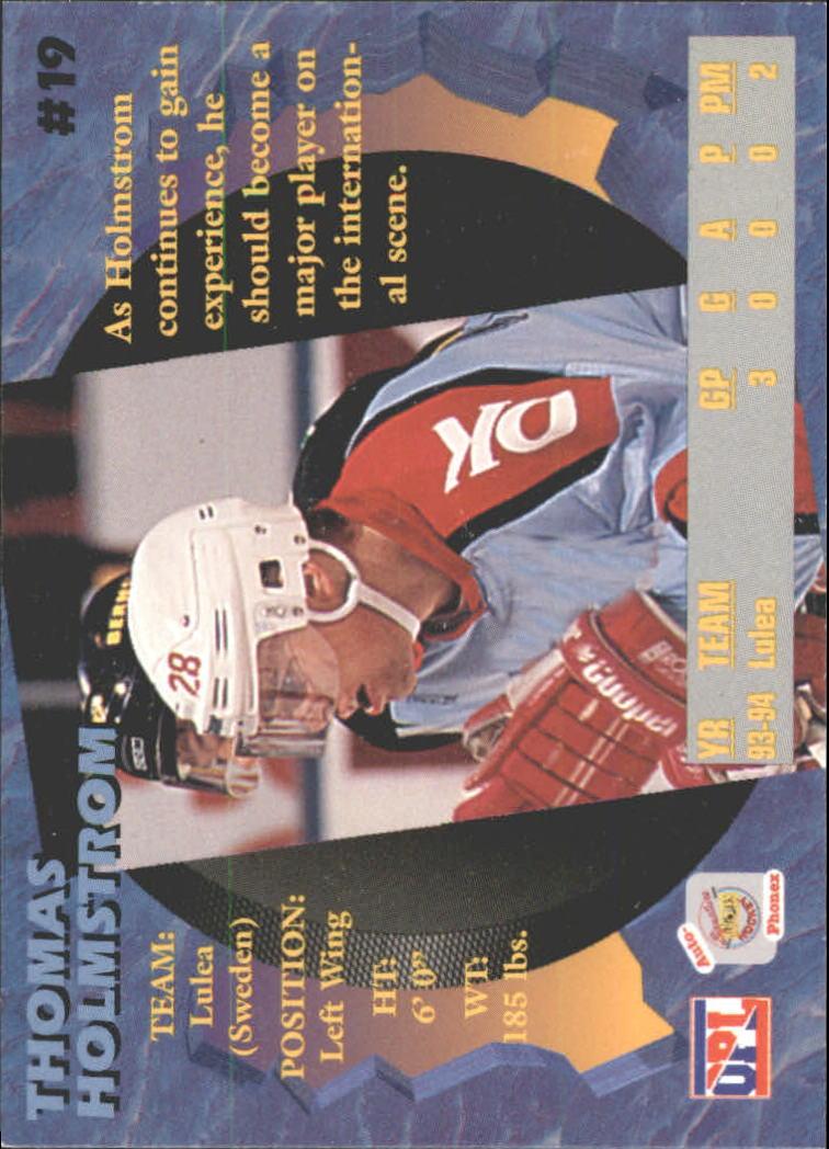 1995 Signature Rookies Auto-Phonex #19 Thomas Holmstrom back image