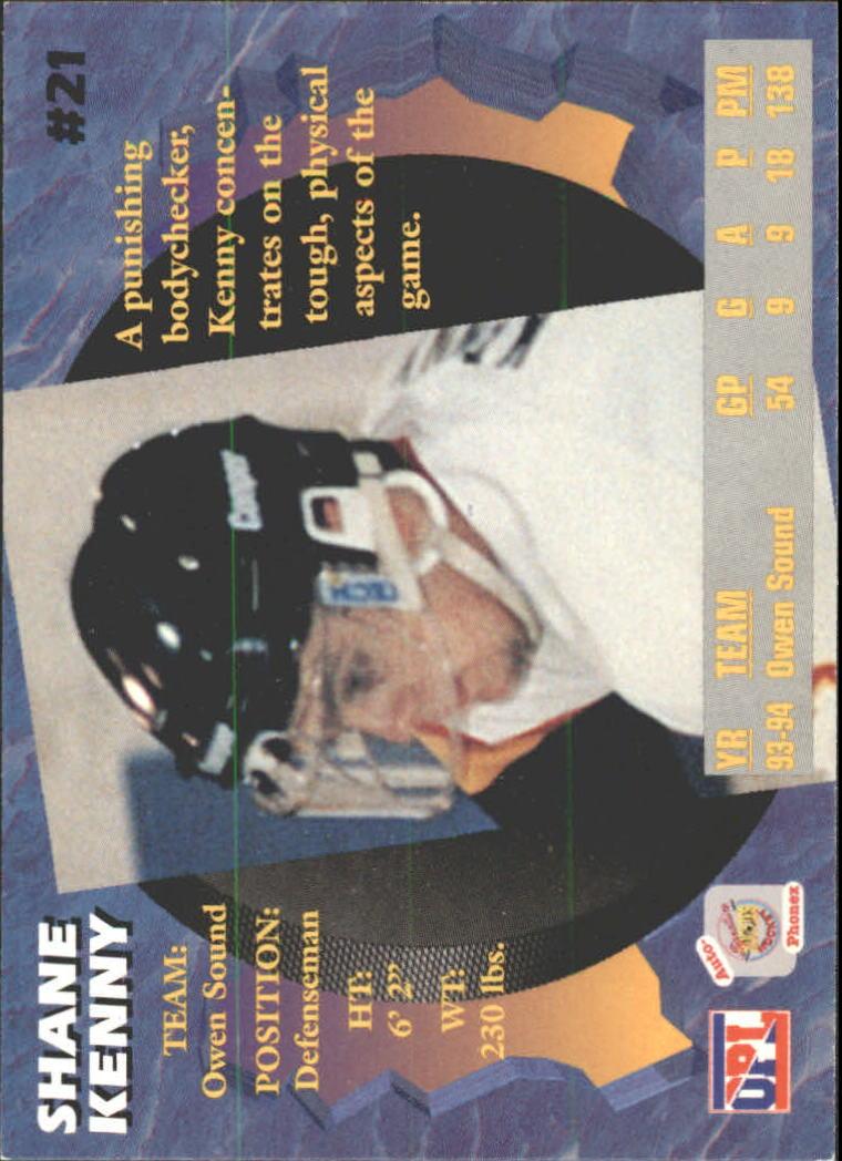 1995 Signature Rookies Auto-Phonex #21 Shane Kenny back image