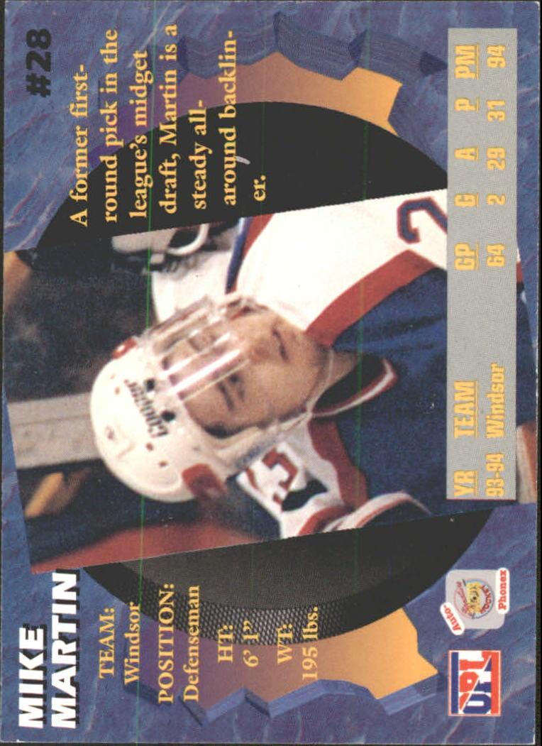 1995 Signature Rookies Auto-Phonex #28 Mike Martin back image