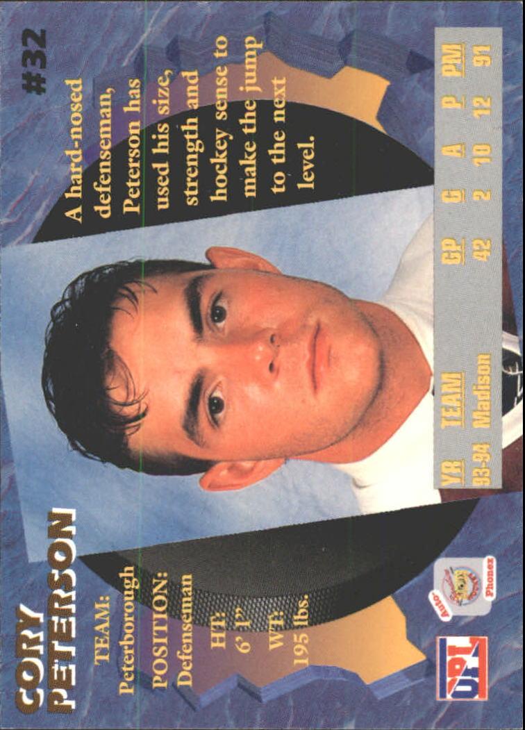 1995 Signature Rookies Auto-Phonex #32 Cory Peterson back image